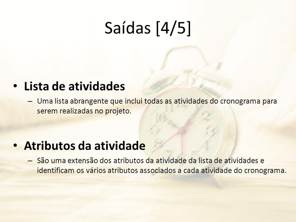 Saídas [4/5] Lista de atividades Atributos da atividade